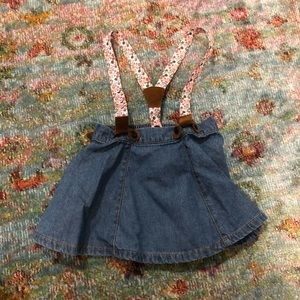 Denim and Suede Skirt Suspenders